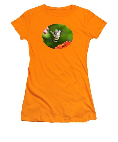 Shimmering Breeze Hummingbird Women's T-Shirt (Junior Cut) by Christina Rollo