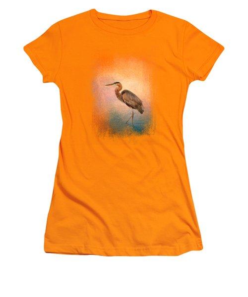 Sunset Heron Women's T-Shirt (Junior Cut) by Jai Johnson
