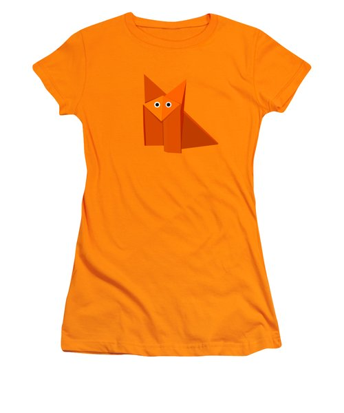 Yellow Cute Origami Fox Women's T-Shirt (Junior Cut) by Boriana Giormova