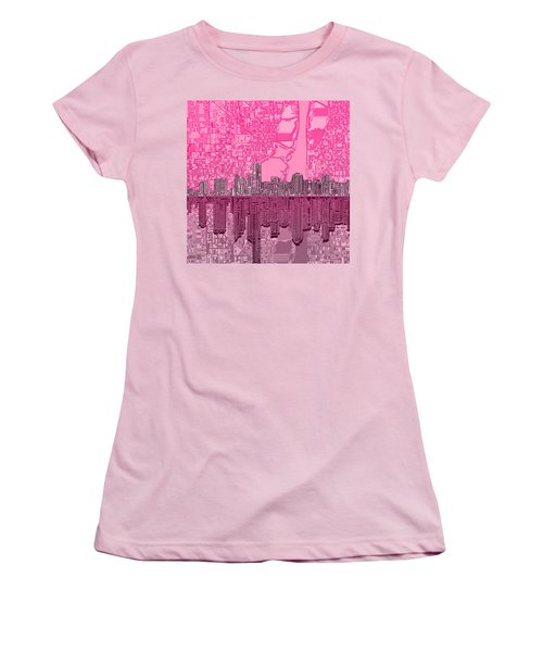 Miami Skyline Abstract 4 Women's T-Shirt (Junior Cut) by Bekim Art