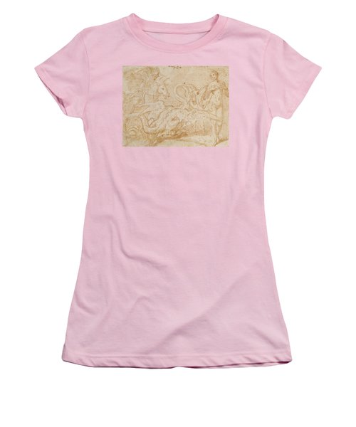 Perseus Rescuing Andromeda Red Chalk On Paper Women's T-Shirt (Junior Cut) by or Zuccaro, Federico Zuccari