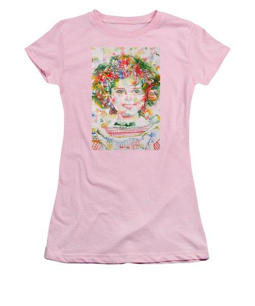 Shirley Temple - Watercolor Portrait.1 Women's T-Shirt (Junior Cut) by Fabrizio Cassetta