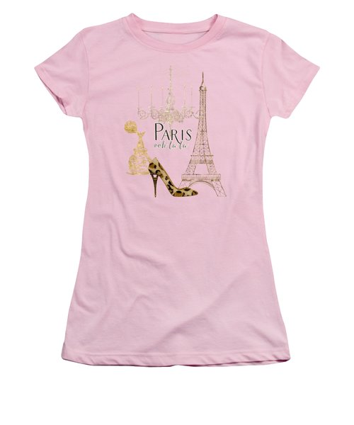 Paris - Ooh La La Fashion Eiffel Tower Chandelier Perfume Bottle Women's T-Shirt (Junior Cut) by Audrey Jeanne Roberts