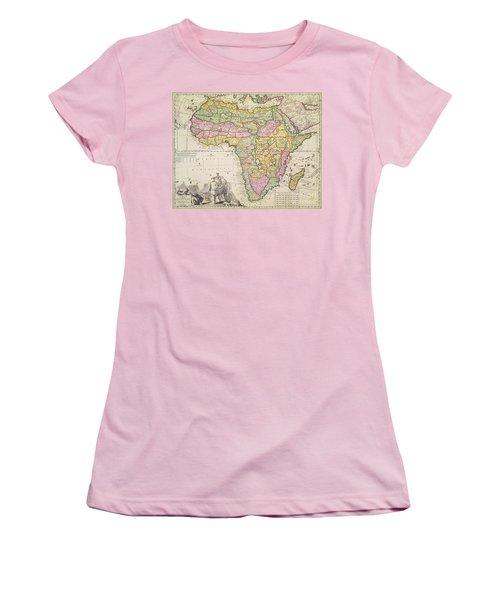 Antique Map Of Africa Women's T-Shirt (Junior Cut) by Pieter Schenk