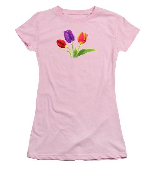 Tulip Trio Women's T-Shirt (Junior Cut) by Sarah Batalka