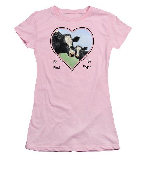 Holstein Cow And Calf Pink Heart Vegan Women's T-Shirt (Junior Cut) by Crista Forest