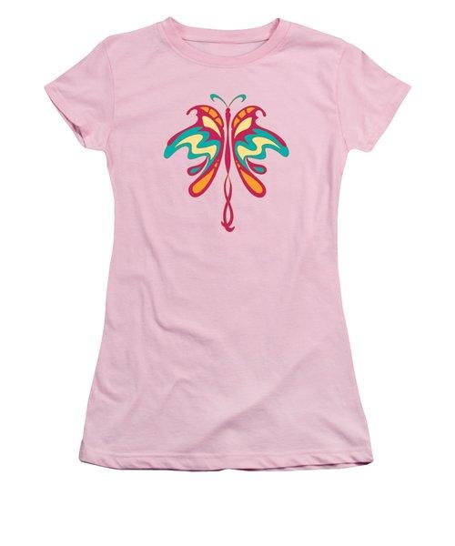 Colourful Art Nouveau Butterfly Women's T-Shirt (Junior Cut) by Heidi De Leeuw