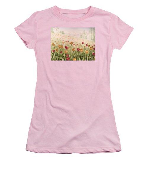 Field Of Tulips Women's T-Shirt (Junior Cut) by Kayla Jimenez