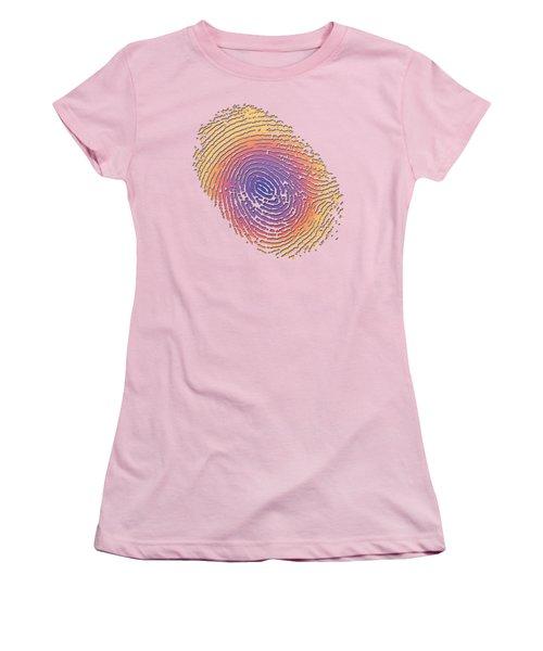 Giant Iridescent Fingerprint On Salmon Roe Pink Set Of 4 - 2 Of 4 Women's T-Shirt (Junior Cut) by Serge Averbukh