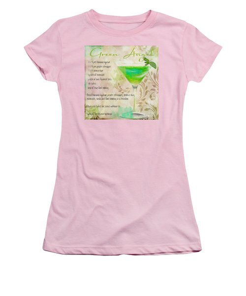 Green Angel Mixed Cocktail Recipe Sign Women's T-Shirt (Junior Cut) by Mindy Sommers