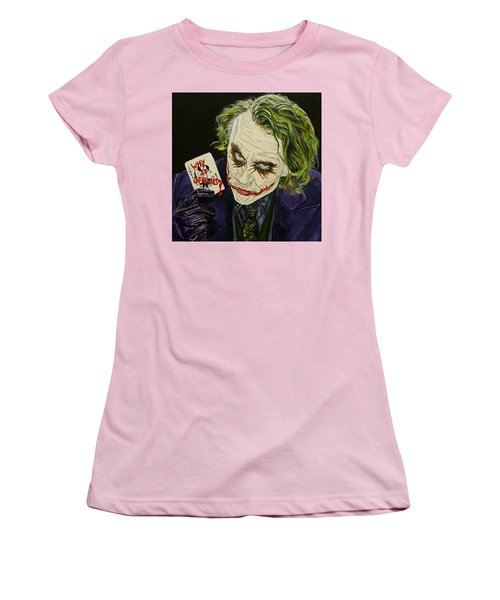 Heath Ledger The Joker Women's T-Shirt (Junior Cut) by David Peninger