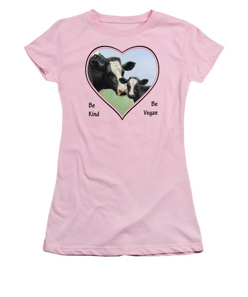 Holstein Cow And Calf Pink Heart Vegan Women's T-Shirt (Junior Cut) by Crista Forest