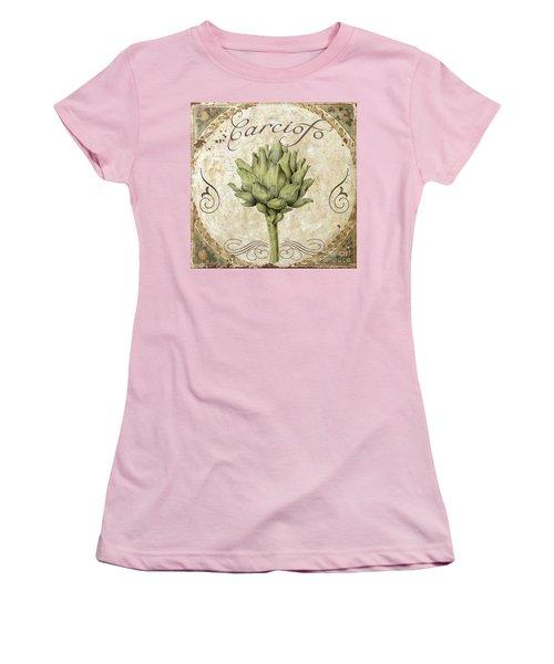 Mangia Carciofo Artichoke Women's T-Shirt (Junior Cut) by Mindy Sommers
