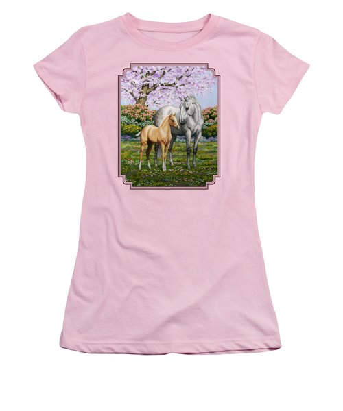 Mare And Foal Pillow Pink Women's T-Shirt (Junior Cut) by Crista Forest
