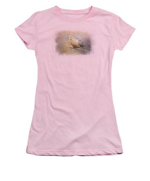 Mourning Dove On A Winter Evening Women's T-Shirt (Junior Cut) by Jai Johnson
