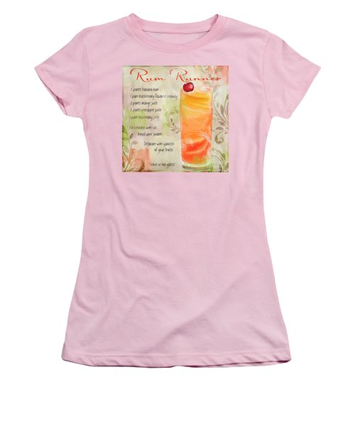 Rum Runner Mixed Cocktail Recipe Sign Women's T-Shirt (Junior Cut) by Mindy Sommers