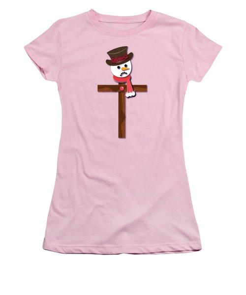 Snowman Christian Cross Women's T-Shirt (Junior Cut) by Reggie Hart