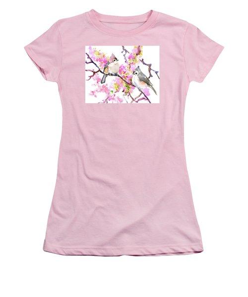 Titmice And Cheery Blossom Women's T-Shirt (Junior Cut) by Suren Nersisyan