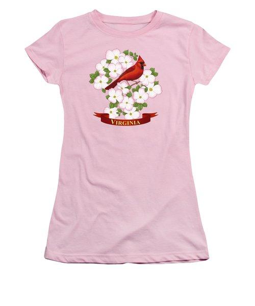Virginia State Bird Cardinal And Flowering Dogwood Women's T-Shirt (Junior Cut) by Crista Forest