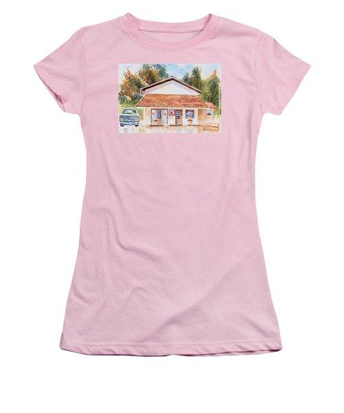 Woodcock Insurance In Watercolor  W406 Women's T-Shirt (Junior Cut) by Kip DeVore
