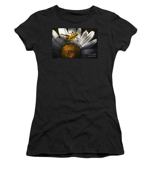 Australian Grasshopper On Flowers. Spring Concept Women's T-Shirt (Junior Cut) by Jorgo Photography - Wall Art Gallery