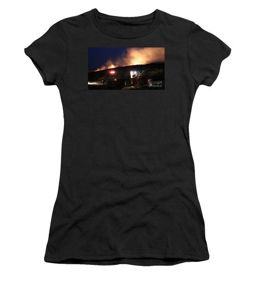 Women's T-Shirt (Junior Cut) featuring the photograph An Engine Crew Works At Night On White Draw Fire by Bill Gabbert