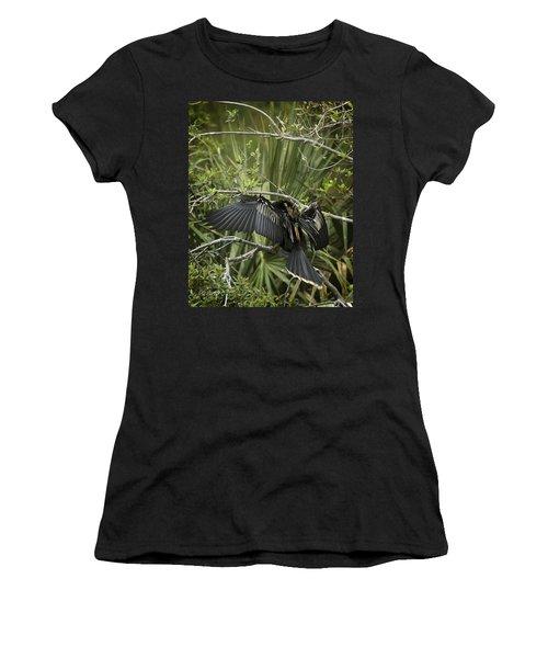 Anhinga Papa Women's T-Shirt (Junior Cut) by Phill Doherty