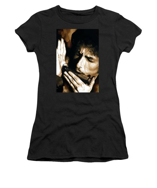 Bob Dylan Artwork 2 Women's T-Shirt (Junior Cut) by Sheraz A