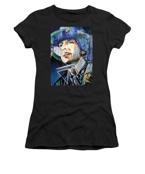 Bob Dylan Tangled Up In Blue Women's T-Shirt (Junior Cut) by Joshua Morton