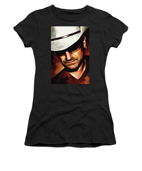 Bono U2 Artwork 3 Women's T-Shirt (Junior Cut) by Sheraz A