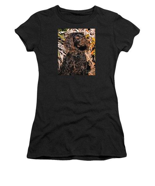 Boykin Spaniel Portrait Women's T-Shirt (Junior Cut) by Timothy Flanigan