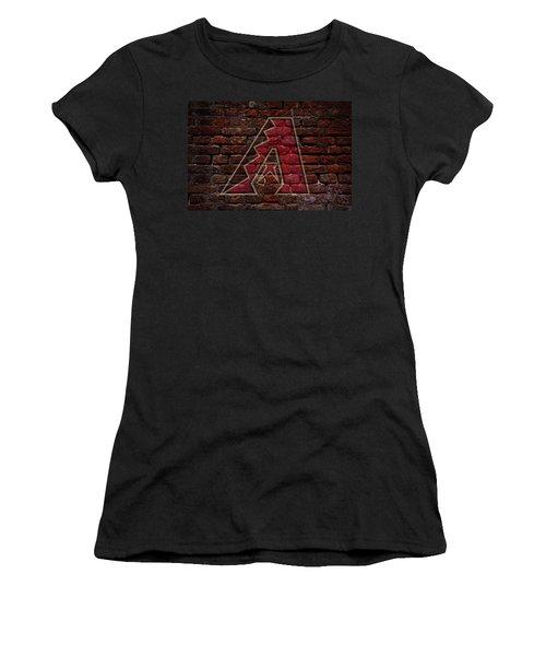 Diamondbacks Baseball Graffiti On Brick  Women's T-Shirt (Junior Cut) by Movie Poster Prints