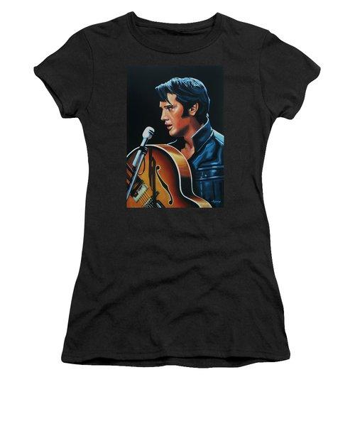 Elvis Presley 3 Painting Women's T-Shirt (Junior Cut) by Paul Meijering