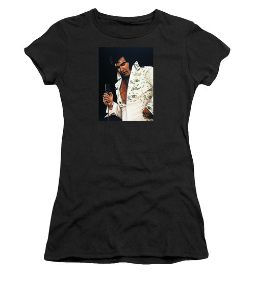 Elvis Presley Painting Women's T-Shirt (Junior Cut) by Paul Meijering