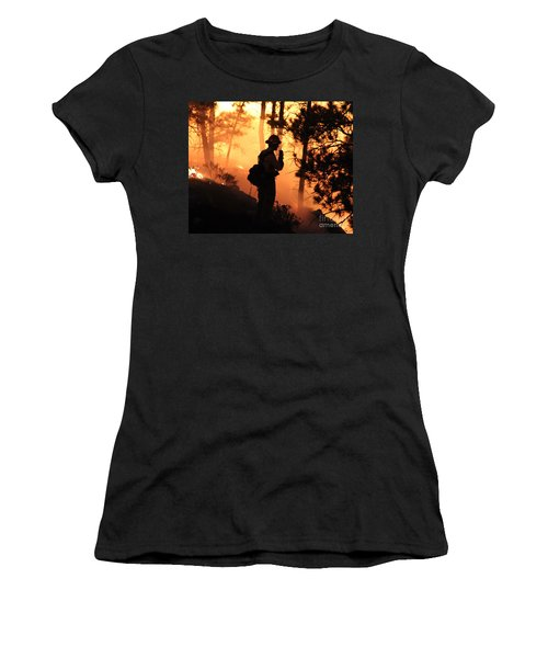 Women's T-Shirt (Junior Cut) featuring the photograph Firefighter At Night On The White Draw Fire by Bill Gabbert