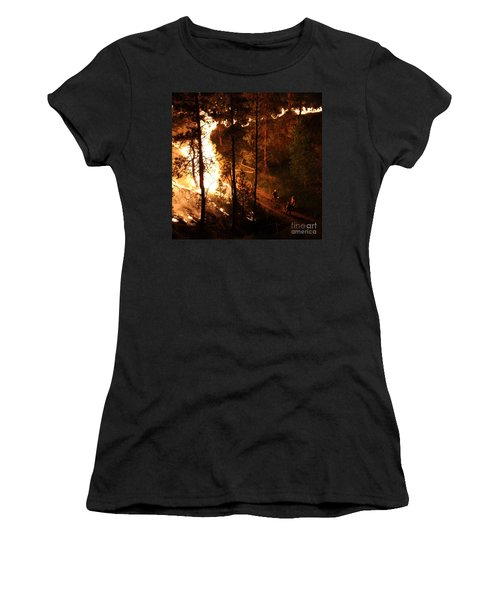Women's T-Shirt (Junior Cut) featuring the photograph Firefighters Burn Out On The White Draw Fire by Bill Gabbert