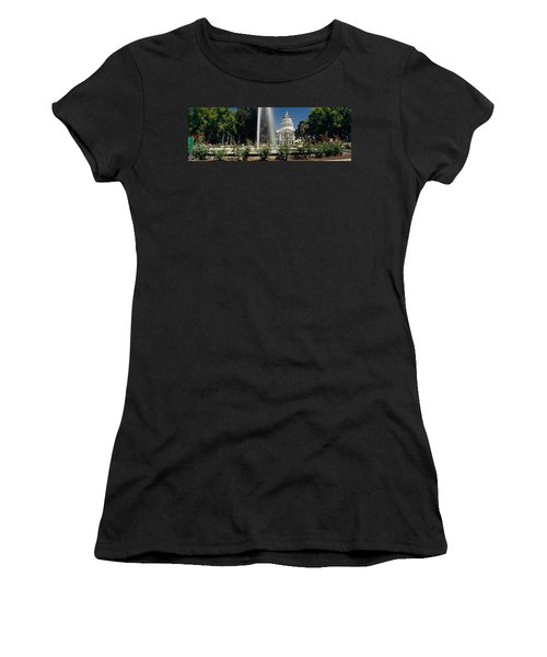 Fountain In A Garden In Front Women's T-Shirt (Junior Cut) by Panoramic Images
