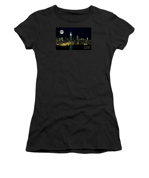 Full Moon Rising - New York City Women's T-Shirt (Junior Cut) by Anthony Sacco
