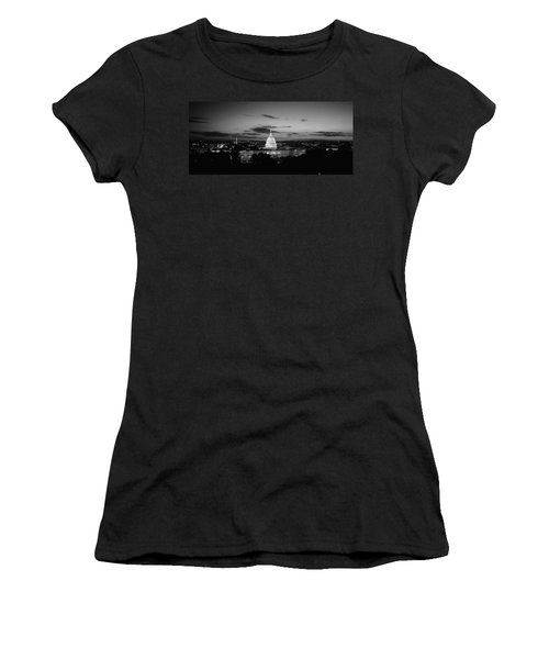 Government Building Lit Up At Night, Us Women's T-Shirt (Junior Cut) by Panoramic Images