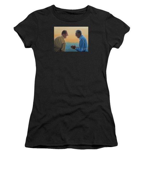 Jack Nicholson And Morgan Freeman Women's T-Shirt (Junior Cut) by Paul Meijering