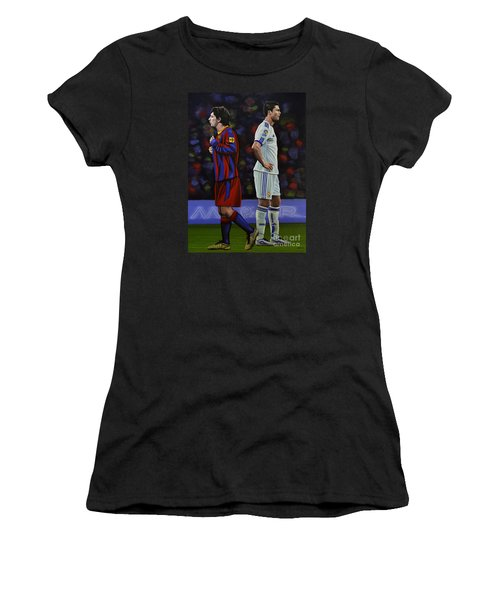 Lionel Messi And Cristiano Ronaldo Women's T-Shirt (Junior Cut) by Paul Meijering