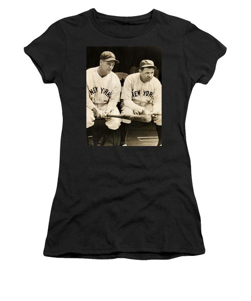 Lou Gehrig And Babe Ruth Women's T-Shirt (Junior Cut) by Bill Cannon