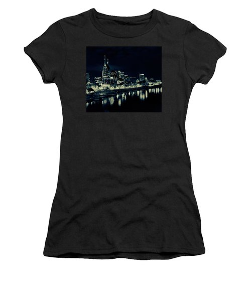Nashville Skyline Reflected At Night Women's T-Shirt (Junior Cut) by Dan Sproul