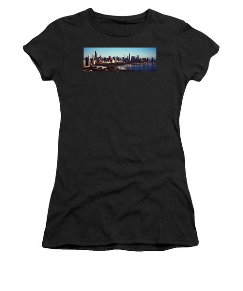 Skyscrapers At The Waterfront, Hancock Women's T-Shirt (Junior Cut) by Panoramic Images