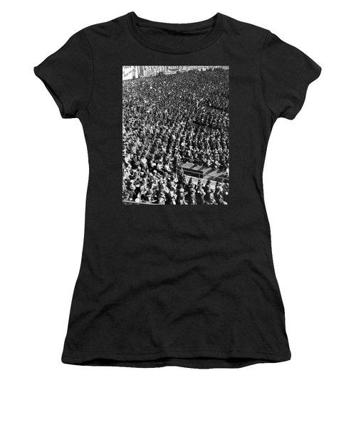 Baseball Fans At Yankee Stadium In New York   Women's T-Shirt (Junior Cut) by Underwood Archives