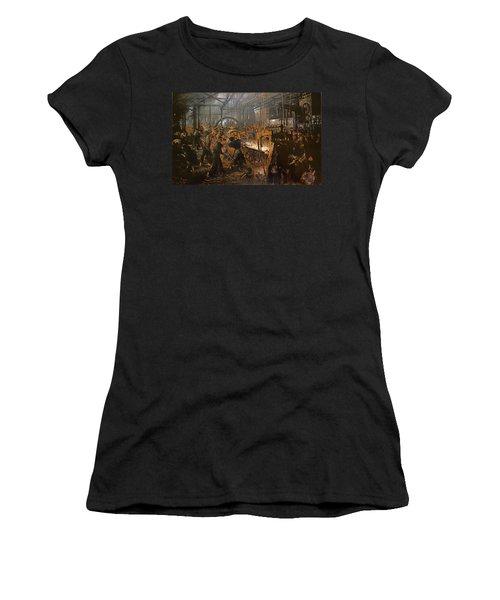 The Iron-rolling Mill Oil On Canvas, 1875 Women's T-Shirt (Junior Cut) by Adolph Friedrich Erdmann von Menzel
