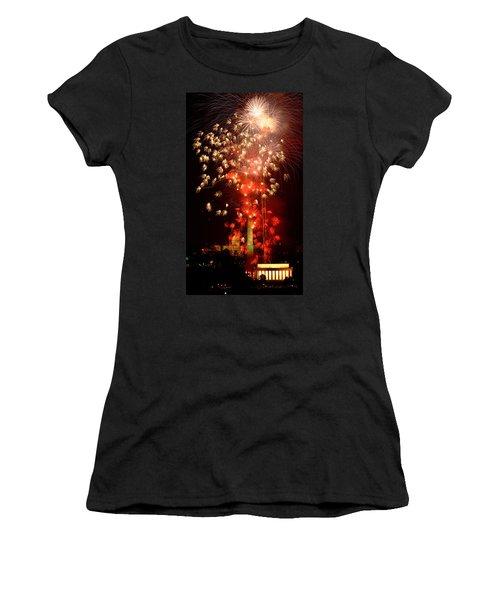 Usa, Washington Dc, Fireworks Women's T-Shirt (Junior Cut) by Panoramic Images