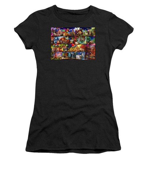 World Travel Book Shelf Women's T-Shirt (Junior Cut) by Aimee Stewart