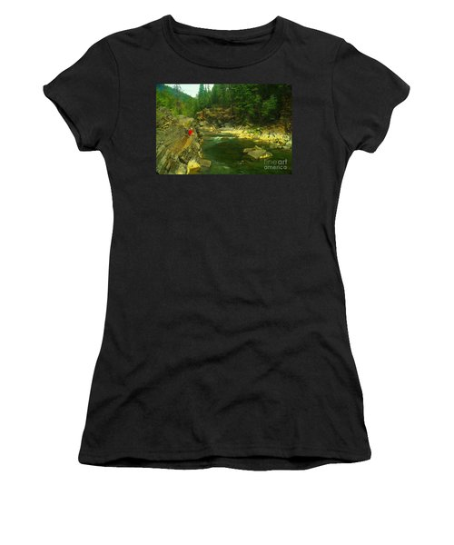 Cliff Over The Yak River Women's T-Shirt (Junior Cut) by Jeff Swan