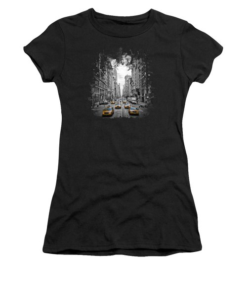 5th Avenue Yellow Cabs Women's T-Shirt (Junior Cut) by Melanie Viola
